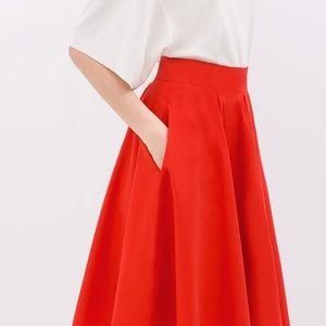 Zara     Red Circle Skirt
